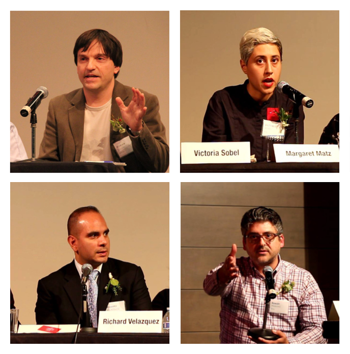 Candidates answer questions at the CUAA Meet the Candidates event on November 9. From left to right: Adrian Jovanovic (BSE '89), Victoria Sobel (Art '13), Richard Velasquez (ME '94), and Rob Marano (EE '93). Photos provided by CUAA