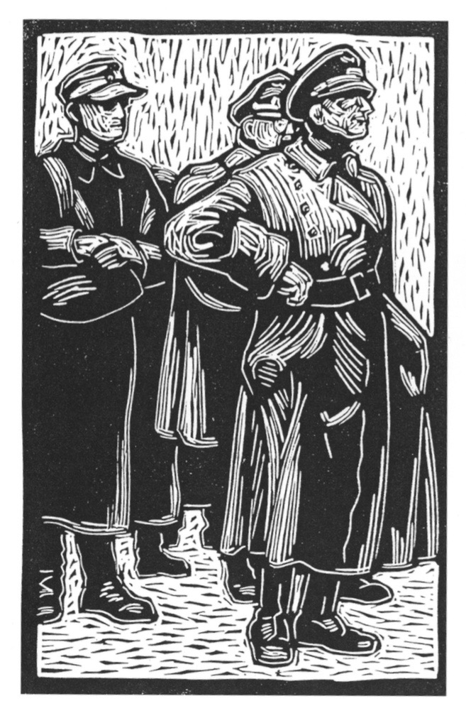 Woodcuts by Stan Kaplan (Art '49) after being guided through Buchenwald by former prisoners in 1945.