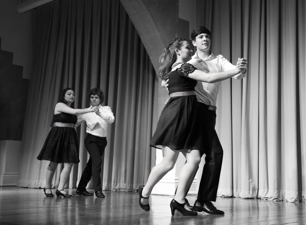 Above: Ballroom Dance Team performs the waltz. Photo by Sage Gu (CE '19).