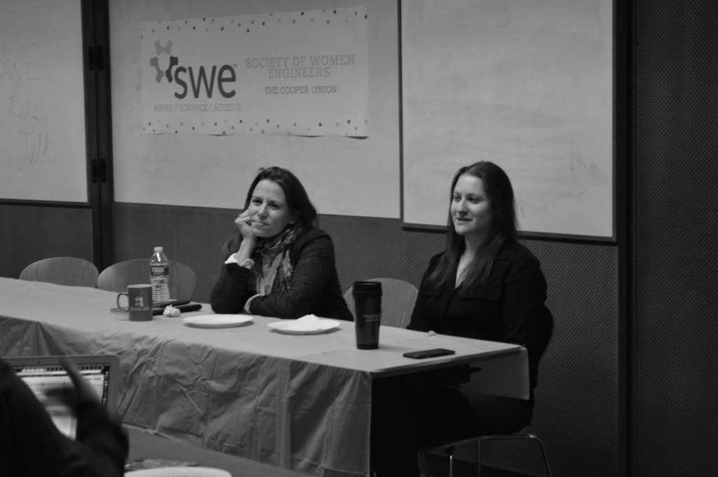 Chemical engineering professors Amanda Simson (left) and Jennifer Weiser (right) discuss their experiences as women in engineering. Photo by Kavya Udupa (BSE '19).